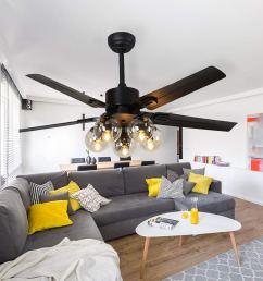 get quotations rainierlight black ceiling fan 5 metal blade remote control 3 speed low medium [ 1000 x 1000 Pixel ]