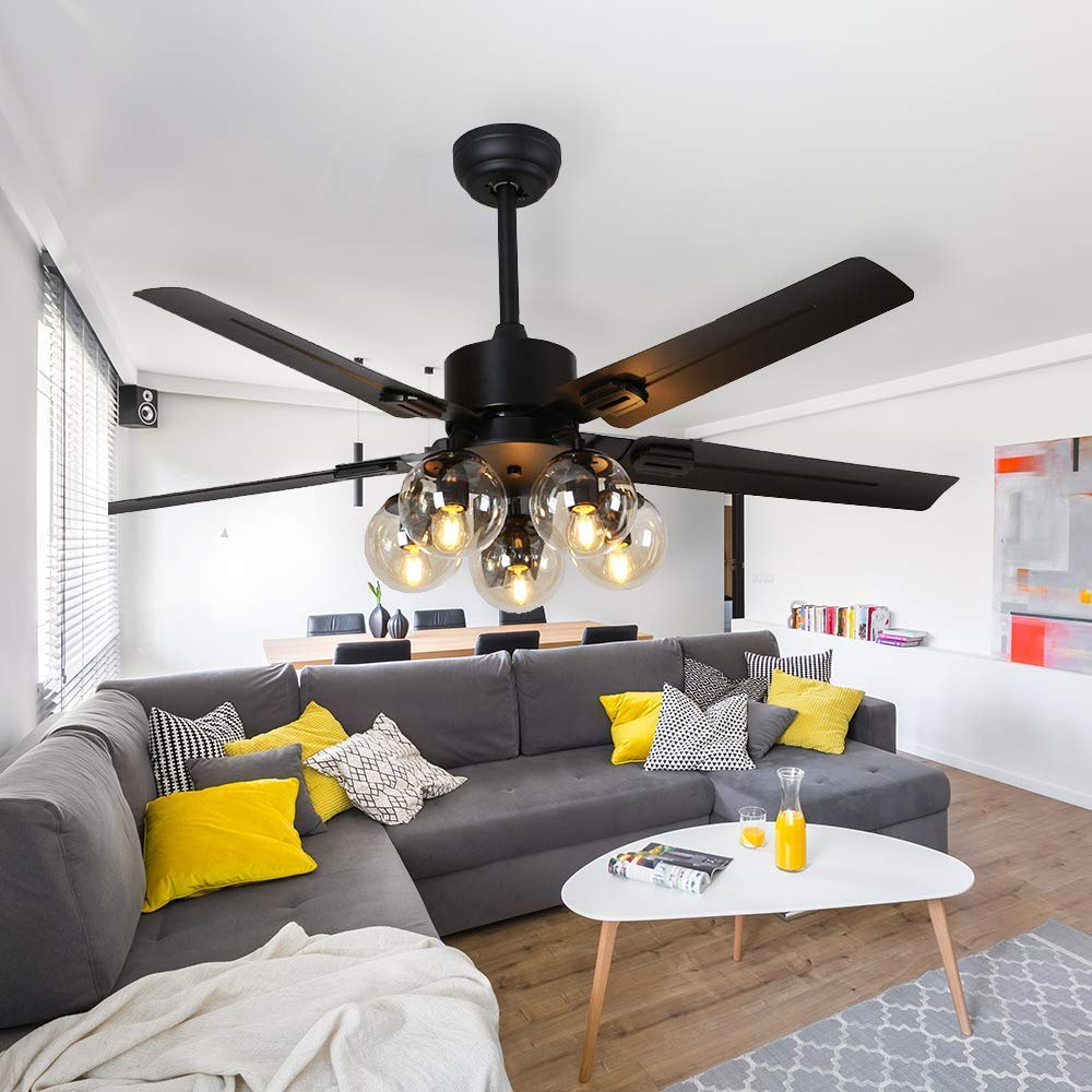 hight resolution of get quotations rainierlight black ceiling fan 5 metal blade remote control 3 speed low medium