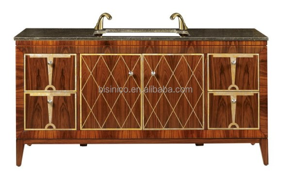 Luxury Hand Carved Wooden Bathroom Vanity Set Retro