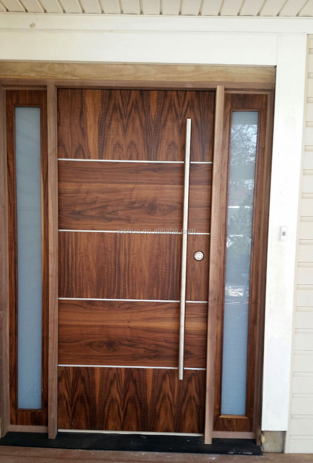 Beautiful Modern Soild Wood Door Walnut Front Door exterior Door With Sidelites  Buy Modern