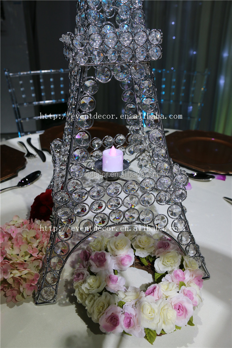 Crystal Beaded Stand Eiffel Tower Candle Holder