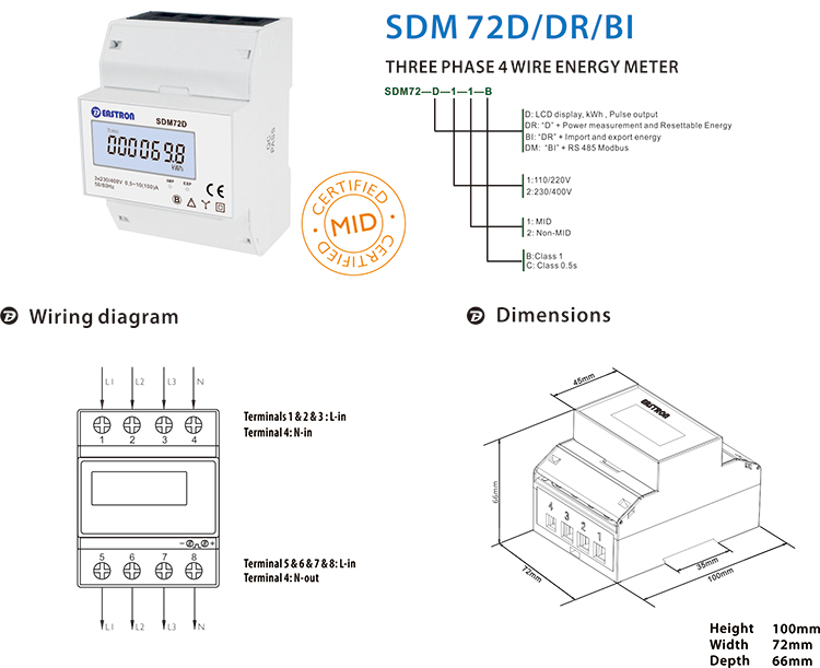Sdm72d Mid Approved Three Phase Lcd Display Pulse Output