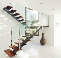 Open Riser Steel Beam U-shaped Wood Staircase With Glass ...