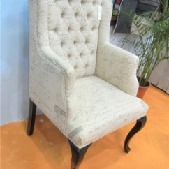 Country Style Wingback Chairs Office Chair And Ottoman Set Antique Wing Back Classical Ancient Button Tufted Velvet Fabric