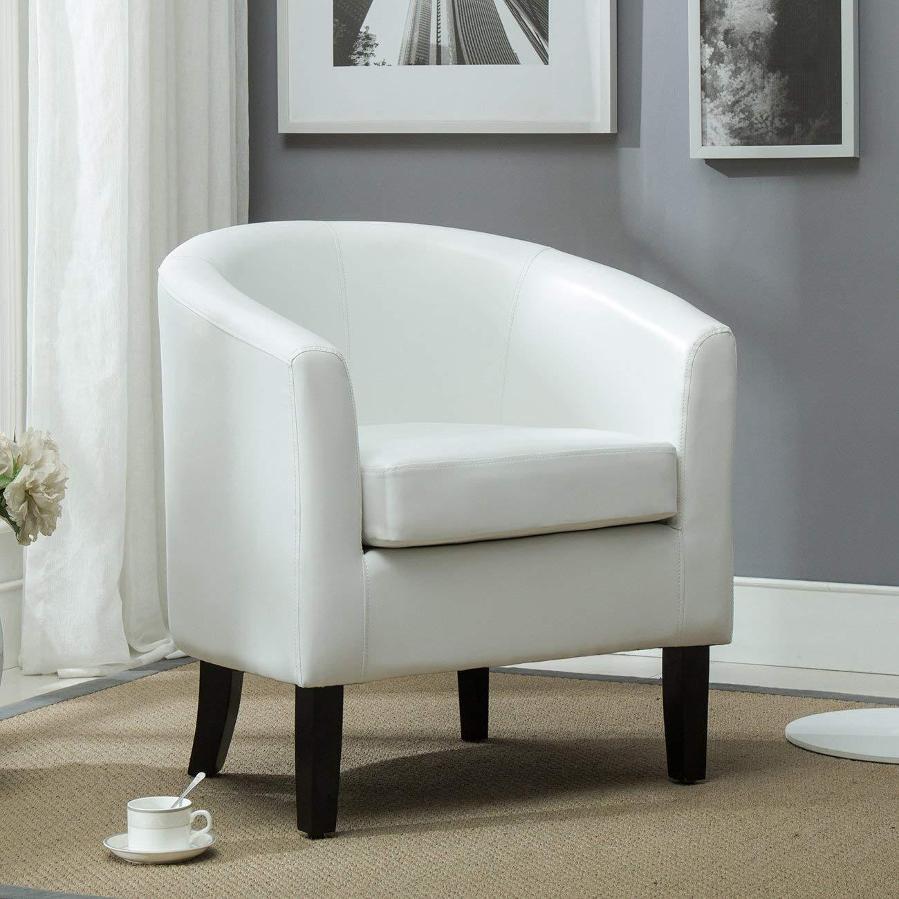 roundhill furniture wonda bonded leather accent chair with wood arms white fisher price deluxe space saver high cheap find get quotations belleze club tub faux armchair seat living room