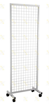 Wire Grid Panel With Castores Free Standing Display Unit