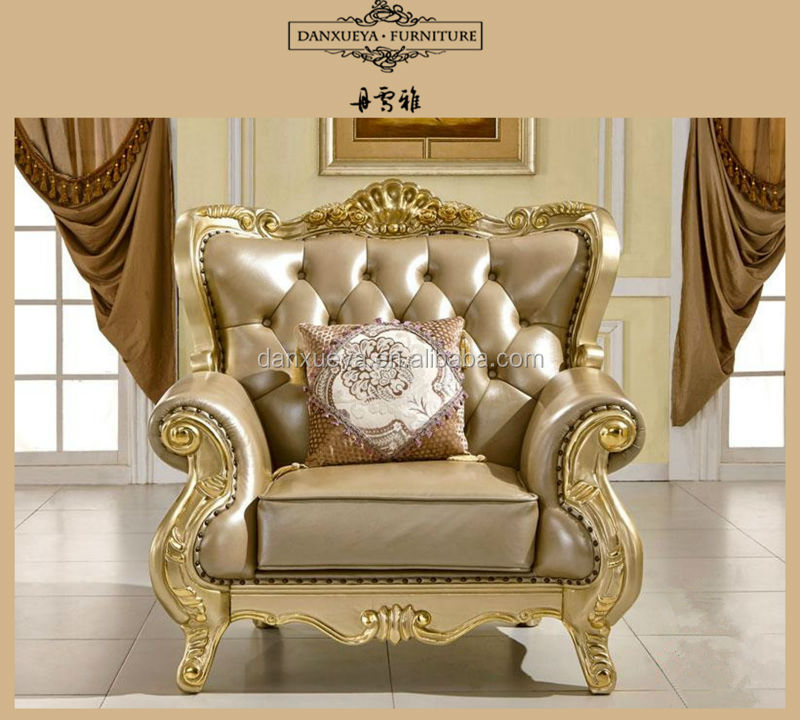 Italian Leather Antique Sofa Royal Furniture Set Luxury