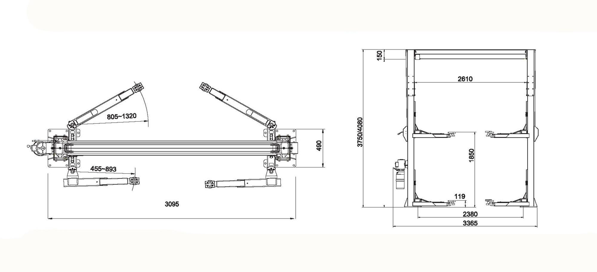 manual one side release hydraulic car ift two post lift 2