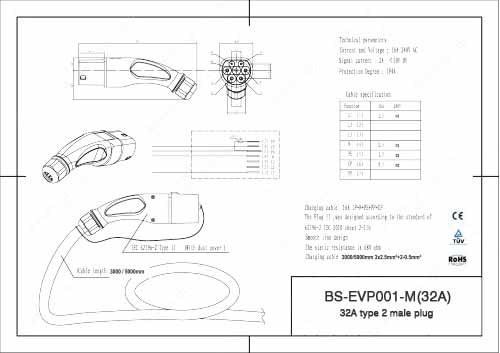 Ac Power Plug Wiring Diagram Type 2 Iec 62196 2 32a Ev Charging Male Plug For Ev