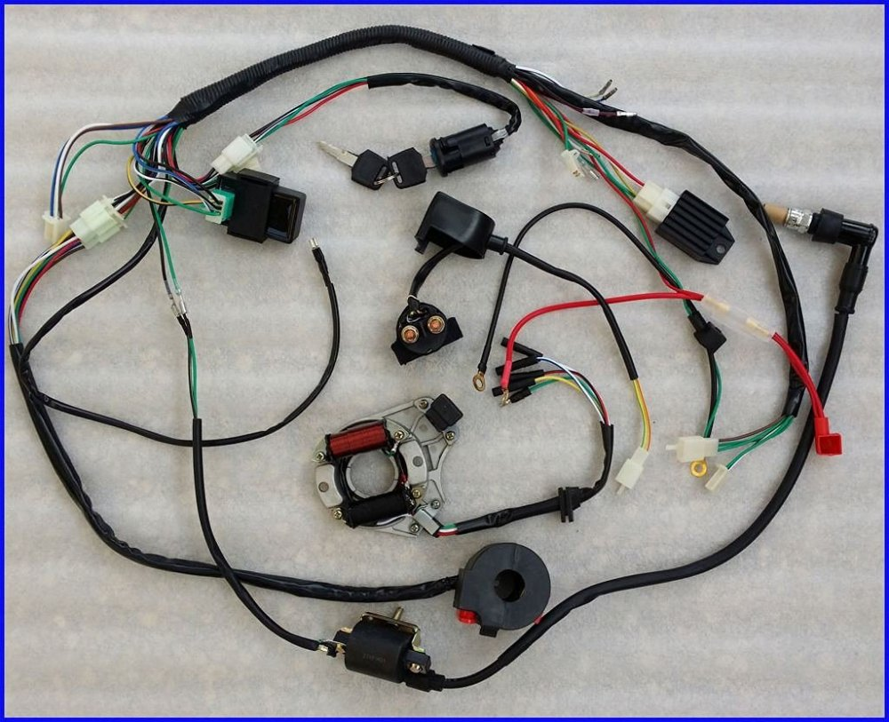 medium resolution of 50 70 90 110cc wire harness wiring cdi assembly atv quad coolster qu