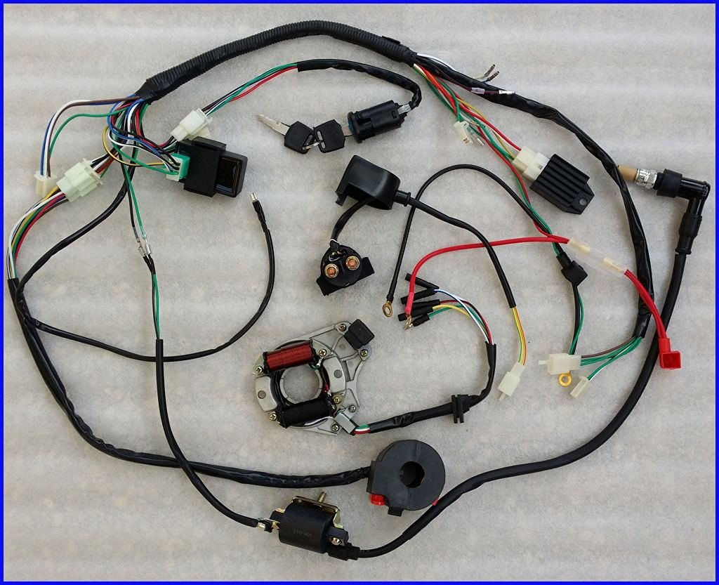 hight resolution of 50 70 90 110cc wire harness wiring cdi assembly atv quad coolster qu