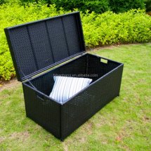 Wicker Patio Deck Pool Storage Box Chest Trunk Cushion