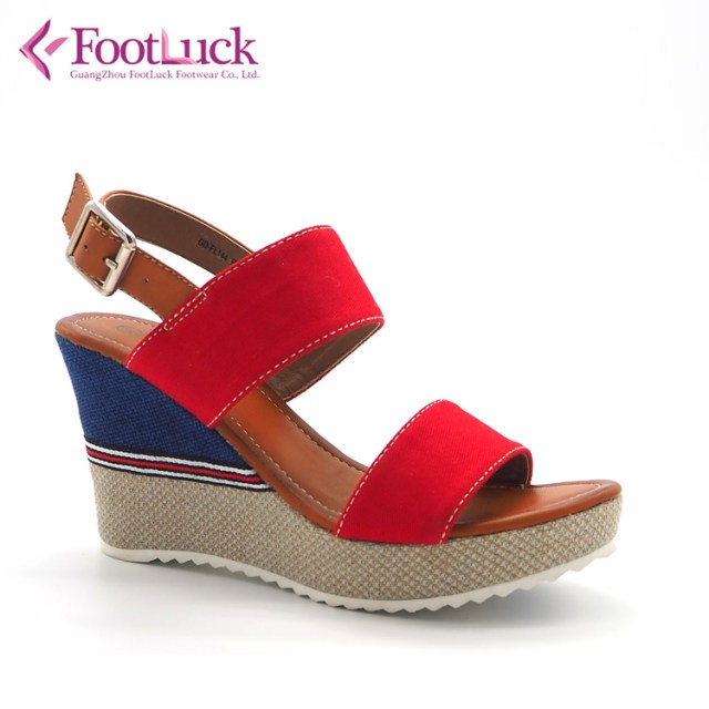 Latest simple strap design summer canvas high wedge heel sandales femmes ladies women woman open toe platform shoes sandals