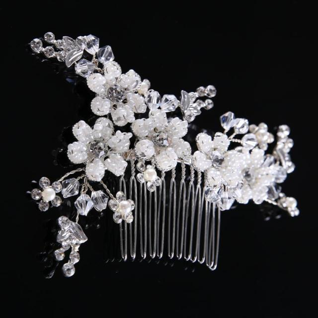 silver plated simple wedding crystal tiara hair combs women wedding bridal rhinestone cz diamond hair combs headpiece wholesale - buy silver plated