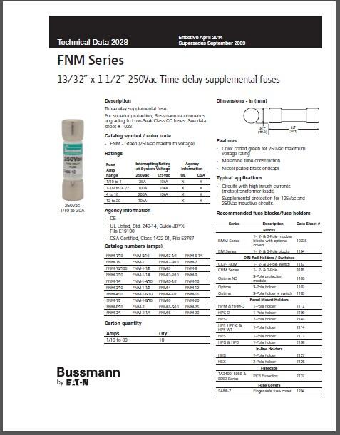 New And Original Fnm-1 Bussmann United States Man 10x38