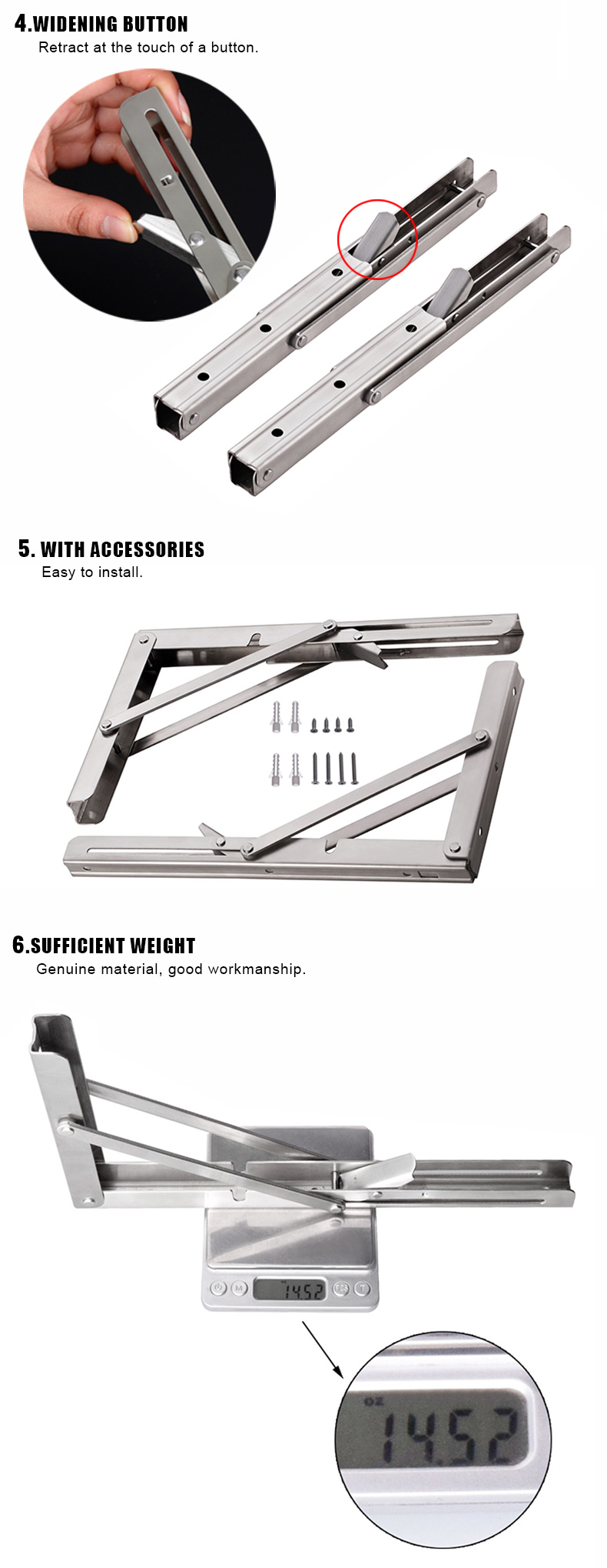 Factory Stainless Steel Pull Down Shelf Hardware Fold Away