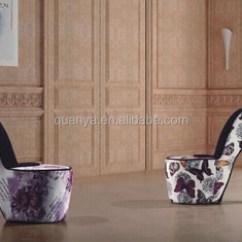 Leopard High Heel Chair Folding Cushions Striped Fabric Cover Shoe