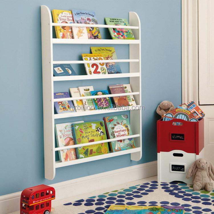 White Kids Wooden Wall Bookcase Storage kids furniture