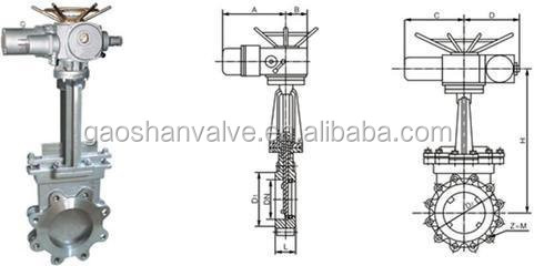 Lug Type Electric Actuated Knife Gate Valve With Drawing