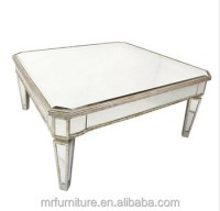 Silver And Gold Rimming Square Mirrored Coffee Table For ...