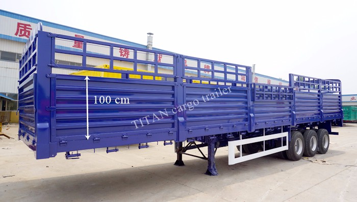 TITAN 3 axle high bed fence Stake flatbed side wall semi cargo trailer