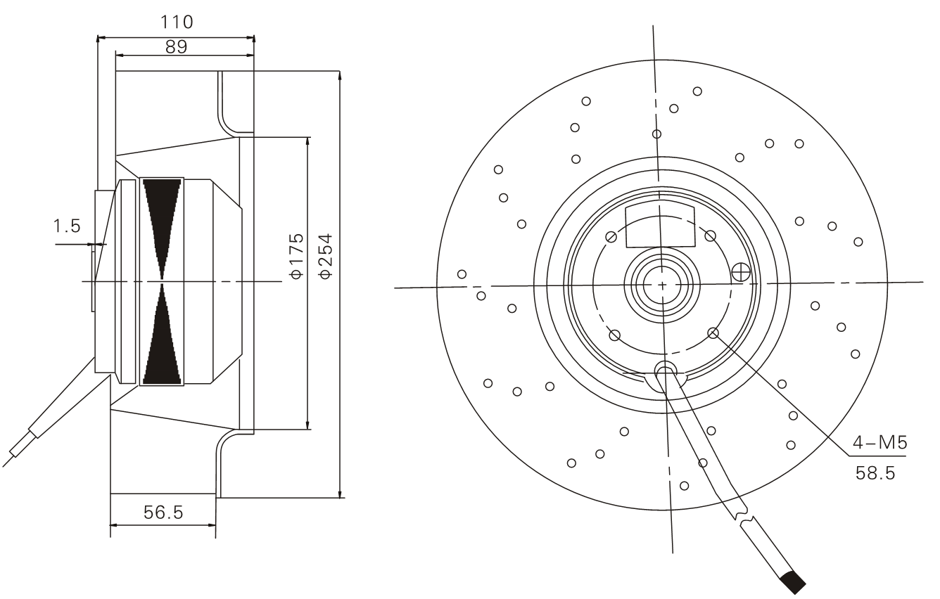 Ac 250 Mm Diameter Centrifugal Fan 250mm Backward Curved