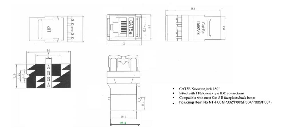 Factory Price 180 Degree Dual Idc Rj45 Cat6 Keystone Jack