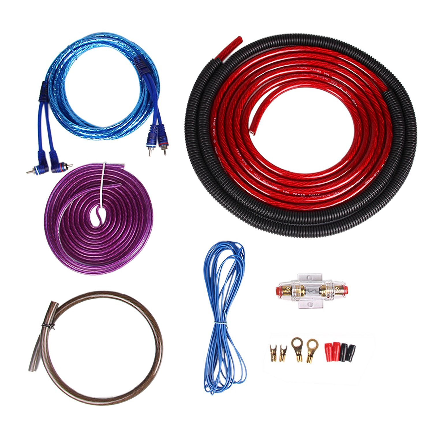 hight resolution of get quotations genuine 4 gauge awg amp kit power cable wiring for car amplifier installation