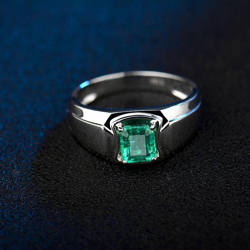 Gemstone Men Ring In 18K White GoldNatural Emerald Ring