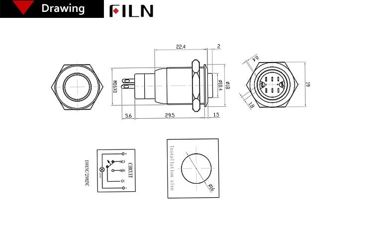 Ce 120v 16mm Metal Ring Illuminated Momentary Self-locking
