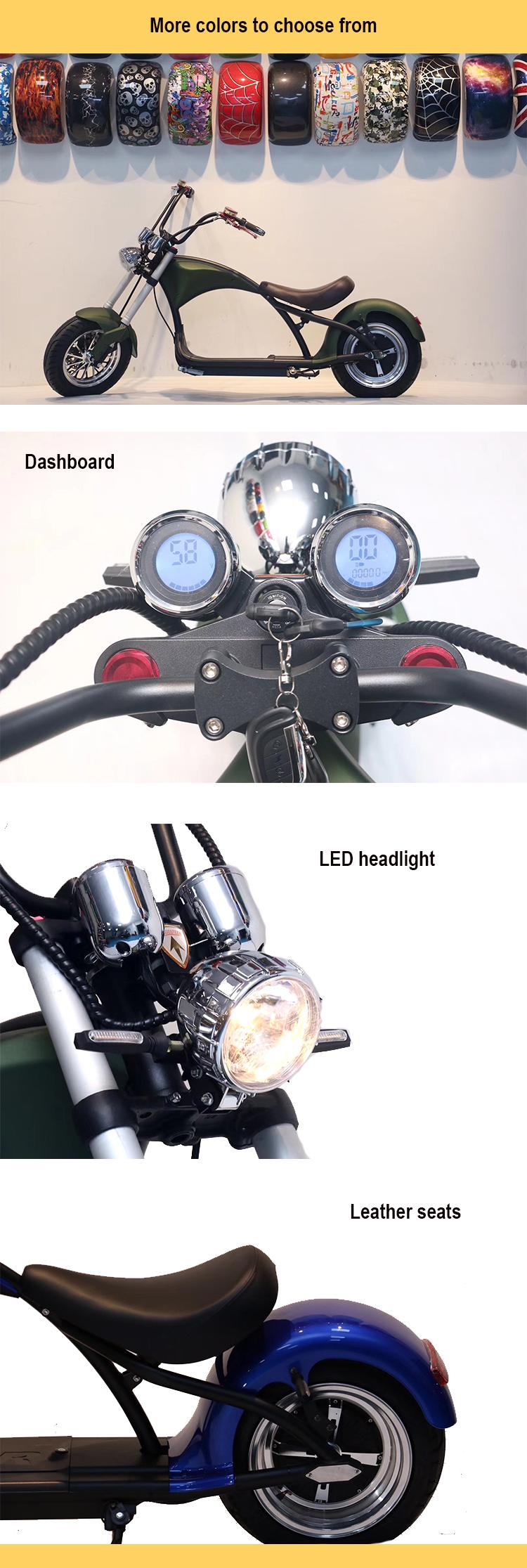 Vente chaude scooter électrique avec 60v1500w pour adultes, nouveau design moto électrique avec CE 1500w gros pneu scooter électrique