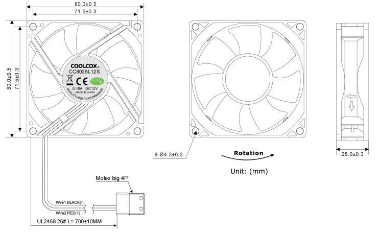 Coolcox 80x80x25mm Uv Led Fan,8025 Uv,Dc Exhaust Fan