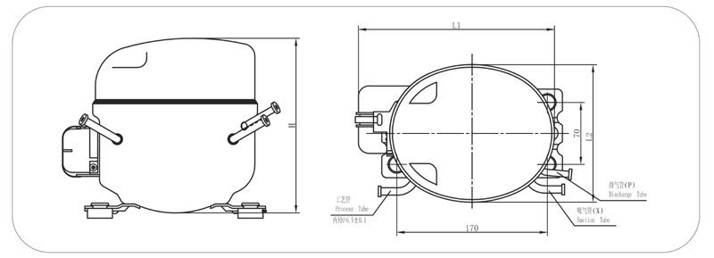 QD65Y R600a Commercial Refrigeration Compressor, View