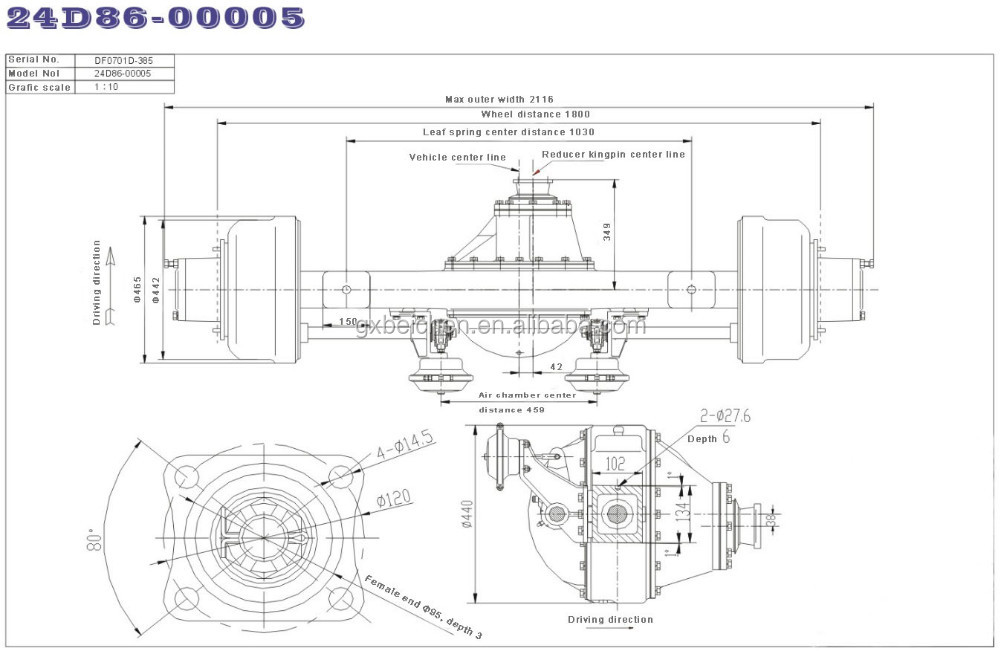 7.0t Driving Axle / Dongfeng Vehicle Axle 24d86-00005