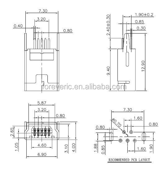 Mini Usb Type B Female 5 Pin Dip 2 Pin Vertical Leg Pcb
