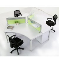 Workstation For 3 Person Modular Office Desk White Gloss ...