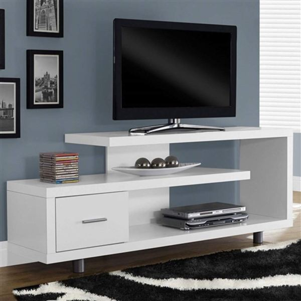 Myeasyshopping White Modern Tv Stand - Fits 60- Flat Screen Table Black Gloss
