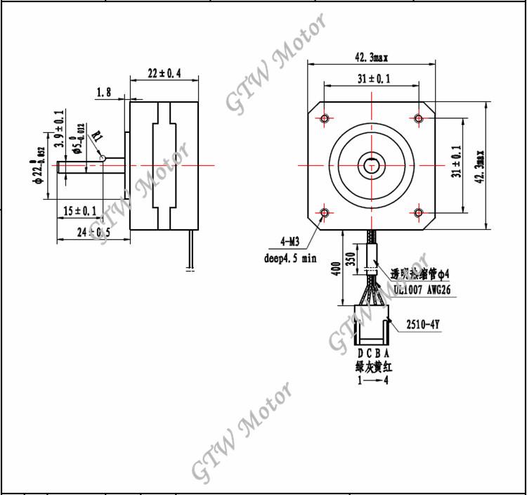 17hs0401-24b Single Plane Shaft 2 Phase Bipolar 4 Wires