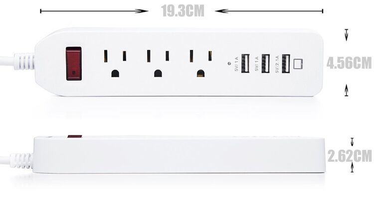 3 Outlet Ac Wall Slim Power Strip 3 Way Electrical
