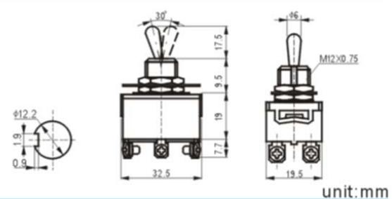 Kn3(c)-223ap 9 Pin Toggle Switch Mini Toggle Switch 3a