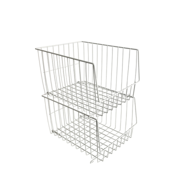 White Large Stackable Display Metal Wire Baskets For