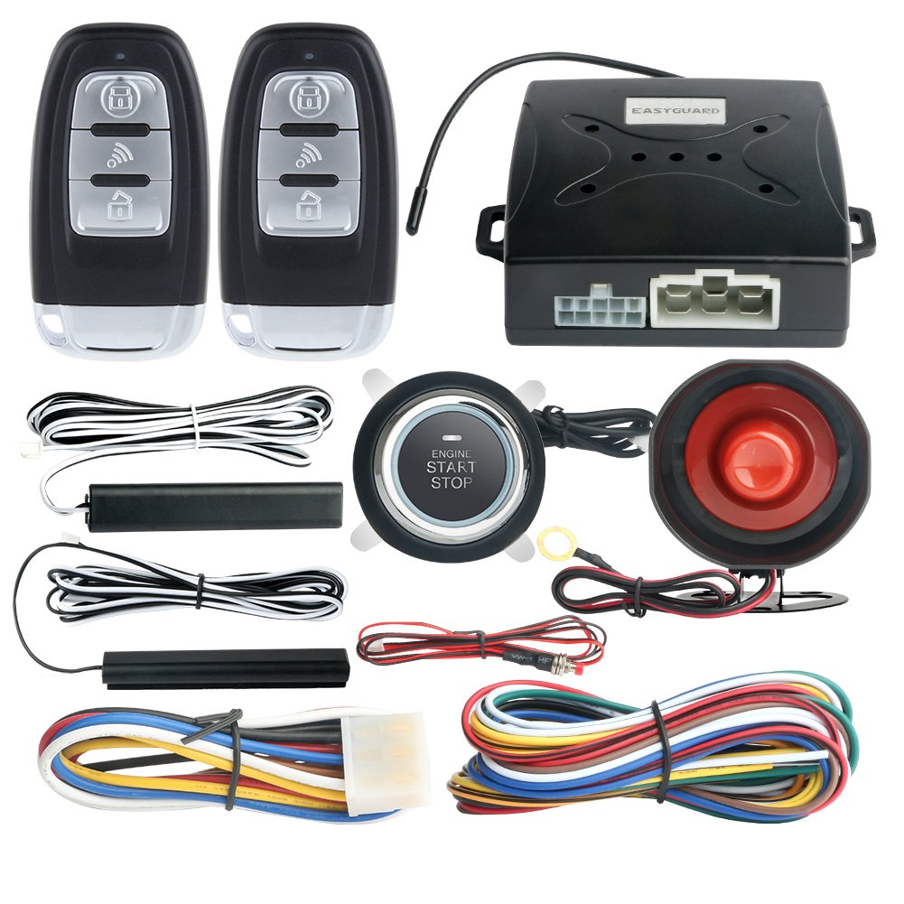 hight resolution of easyguard ec003 smart key pke passive keyless entry car alarm system engine start button remote engine