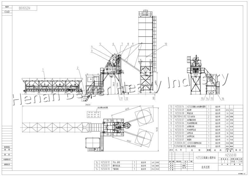 Manganese Steel Concrete Batching Plant Layout Drawing