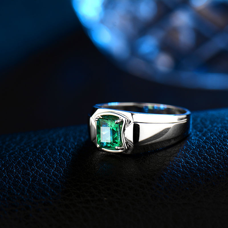 Gemstone Men Ring In 18K White GoldNatural Emerald Ring For Men Sale WU292 View Gemstone Men