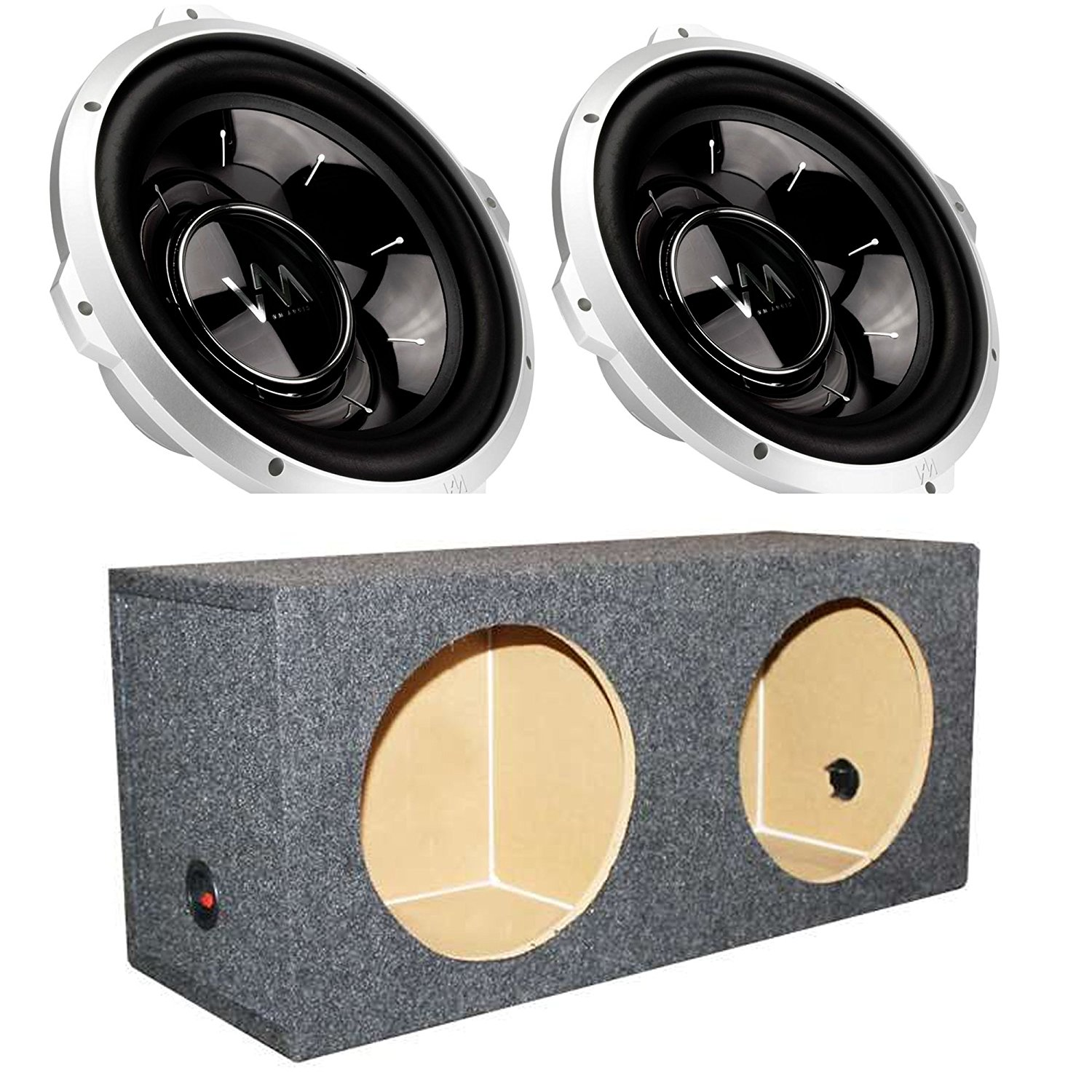 hight resolution of 2 vm audio srw12 12 1000w subwoofers q power dual sealed sub box enclosure
