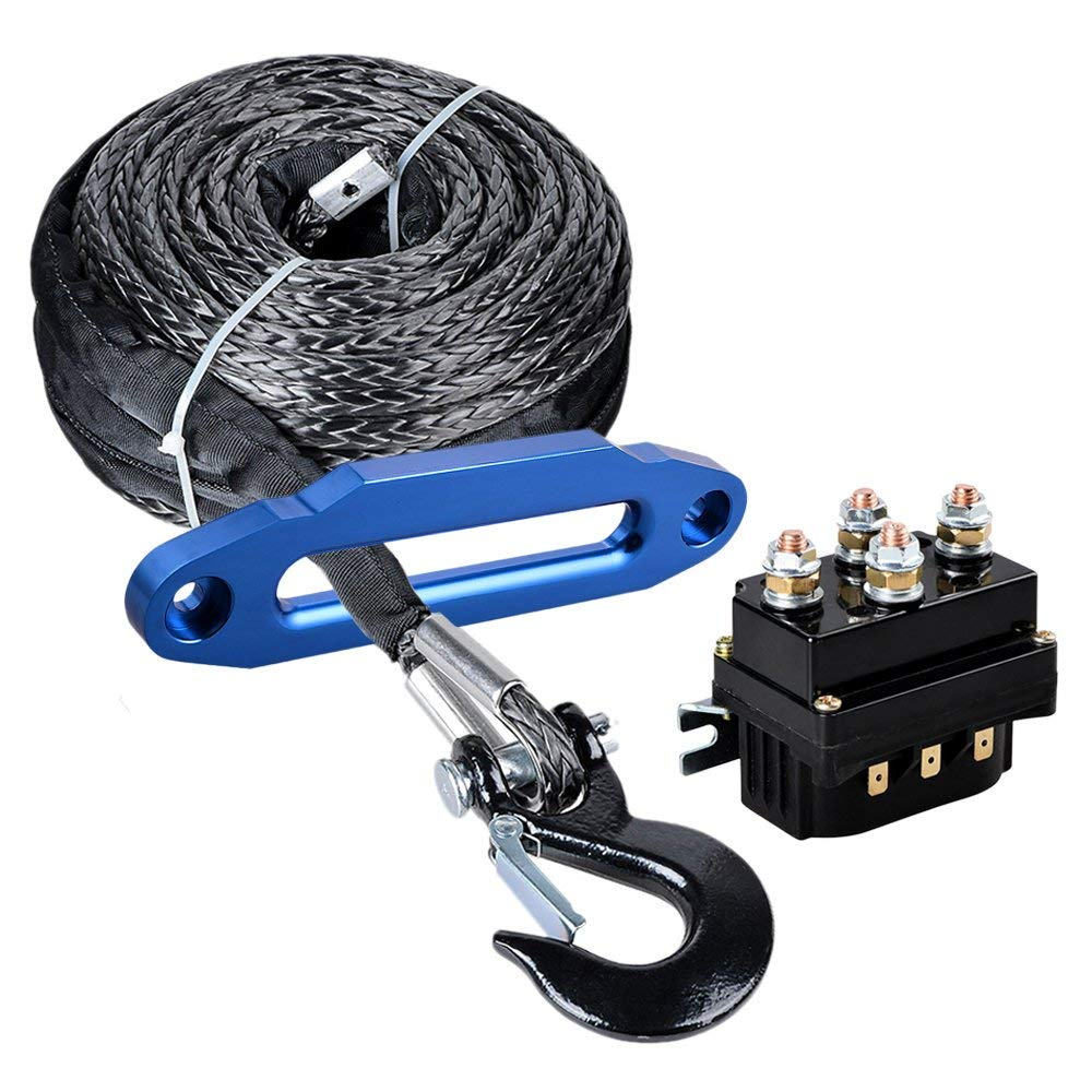 hight resolution of get quotations astra depot 95ft x 3 8 synthetic winch rope cable black hook 10