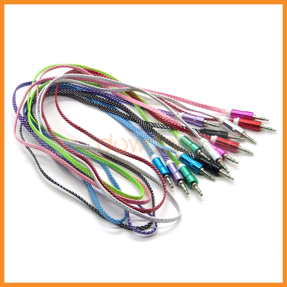 medium resolution of color flat gold plated audio cord auxiliary cable for car stereos computers devices with a 3 5mm audio jack