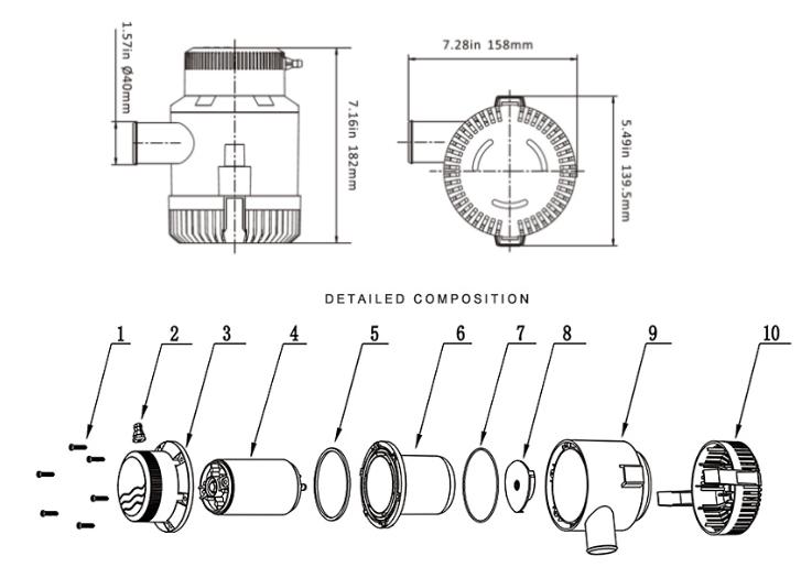 Sailflo 14a Marine Rule 3700 Marine Bilge Pump (3700-gph