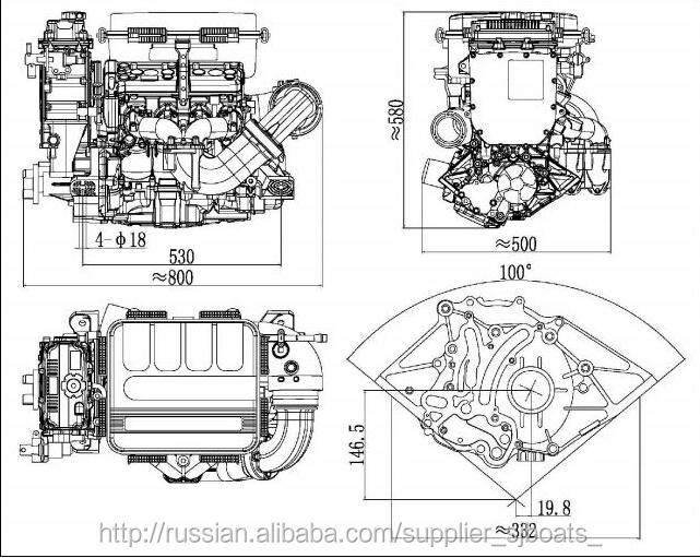 Waverunner Engine 1100cc 1800cc Small Inboard Mini Jet Ski