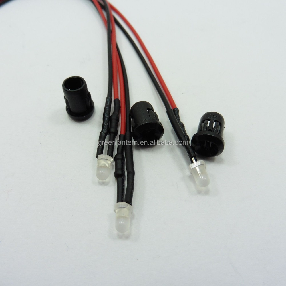 hight resolution of 12v led 5mm milky diode light 20cm cable pre wired with plastic holder